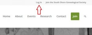 Location of Log In On Home Page